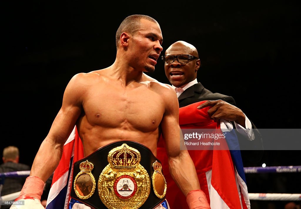 <a gi-track='captionPersonalityLinkClicked' href=/galleries/search?phrase=Chris+Eubank&family=editorial&specificpeople=216217 ng-click='$event.stopPropagation()'>Chris Eubank</a> Jnr is watched by his father <a gi-track='captionPersonalityLinkClicked' href=/galleries/search?phrase=Chris+Eubank&family=editorial&specificpeople=216217 ng-click='$event.stopPropagation()'>Chris Eubank</a> as he celebrates victory over Dmitry Chudinov for the WBA Interim World Middleweight Championship at the O2 Arena on February 28, 2015 in London, England.