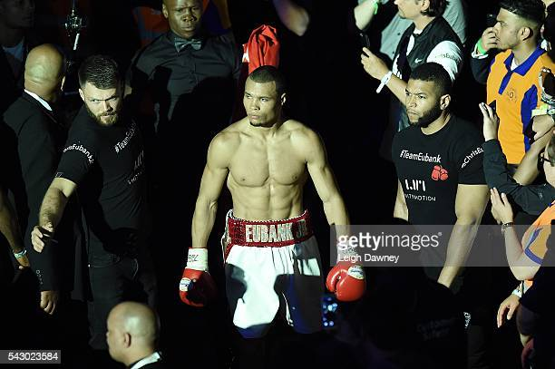 Chris Eubank Jnr makes his ring walk for the British Middleweight title against Tom Doran at The O2 Arena on June 25 2016 in London England