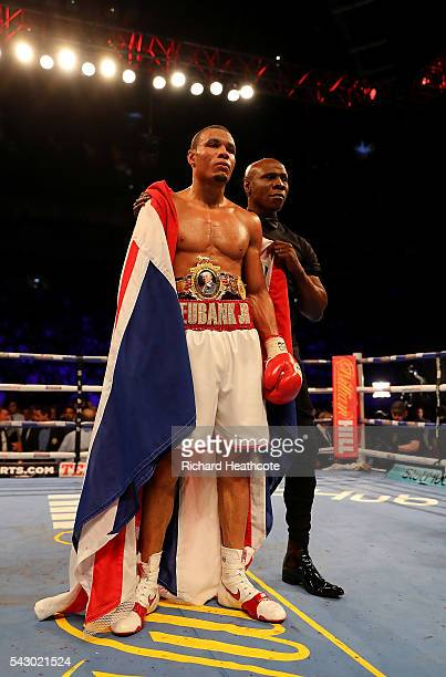 Chris Eubank Jnr of Great Britain celebrates defeating Tom Doran of Great Britain during their British Middleweight contest at The O2 Arena on June...