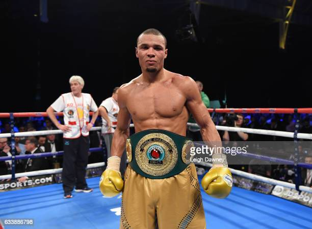 Chris Eubank Jnr of Great Britain defeats Renold Quinlan of Australia for the IBO World Super Middleweight title Olympia London on February 4 2017 in...