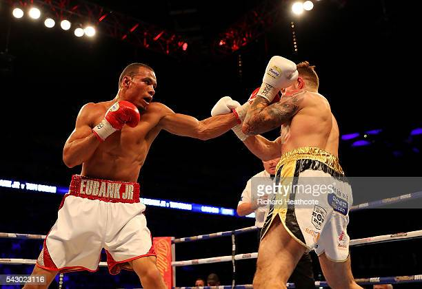 Chris Eubank Jnr of Great Britain lands a punch on Tom Doran of Great Britain during their British Middleweight contest at The O2 Arena on June 25...