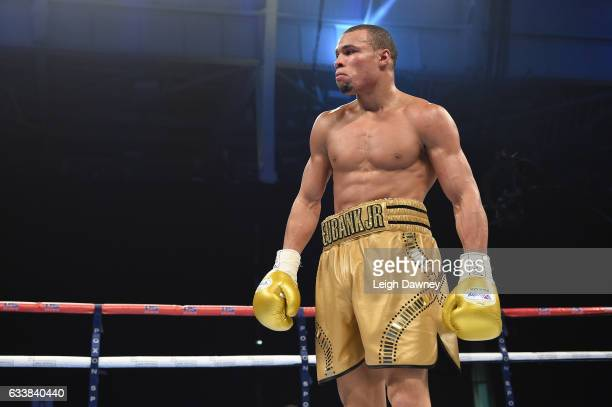Chris Eubank Jnr of Great Britain parades the ring during his fight with Renold Quinlan of Australia for the IBO World Super Middleweight title fight...
