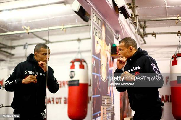 Chris Eubank Jnr warms up during a media workout at Cheetahs Gym on October 21 2015 in Brighton England