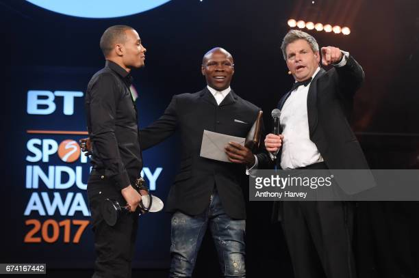 Chris Eubank Jr and Chris Eubank talk with Mark DurdenSmith as they present the Best Use of PR award in association with Getty Images during the BT...