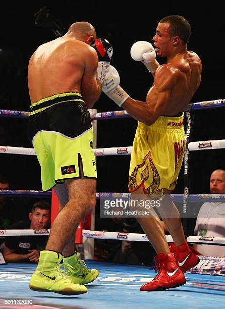 Chris Eubank Jr and Gary O'Sullivan in action during the WBA Middleweight final eliminator contest at The O2 Arena on December 12 2015 in London...
