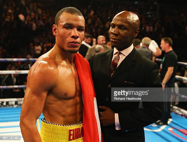 Chris Eubank Jr celebrates victory over Gary O'Sullivan with father Chris Eubank after the WBA Middleweight final eliminator contest at The O2 Arena...