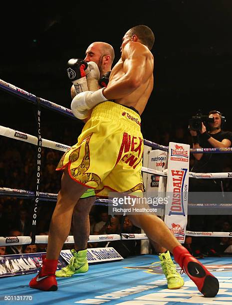 Chris Eubank Jr connects with a punch during the WBA Middleweight final eliminator contest against Gary O'Sullivan at The O2 Arena on December 12...