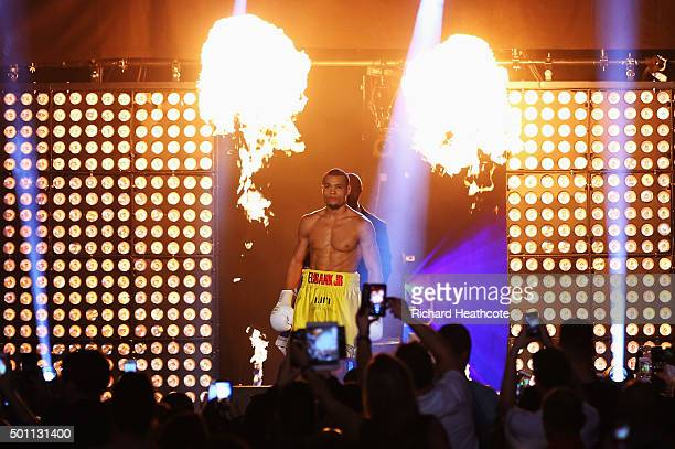 Chris Eubank Jr makes his entrance prior to the WBA Middleweight final eliminator contest against Gary O'Sullivan at The O2 Arena on December 12 2015...