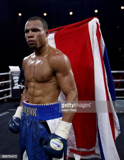 Chris Eubank Jr of Great Britain celebrates victory over Avni Yildirim of Turkey after the Super Middleweight World Boxing Super Series fight at...
