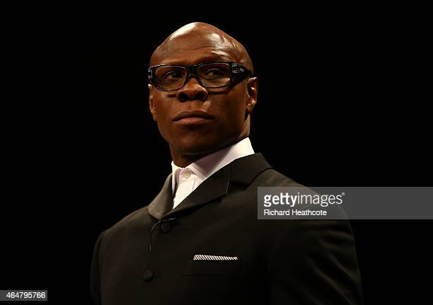 Chris Eubank looks on before his son Chris Eubank Jnr fights Dmitry Chudinov for the WBA Interim World Middleweight Championship at the O2 Arena on...