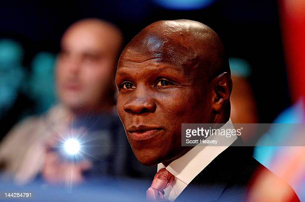 Chris Eubank looks on during Chris Eubank Junior's Middleweight bout with Harry Matthews at Hillsborough Leisure Centre on May 12 2012 in Sheffield...