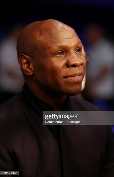 Chris Eubank watches his son Chris Eubank Jnr defeat Frank Borg in their middleweight bout at Glow Bluewater Greenhithe Kent