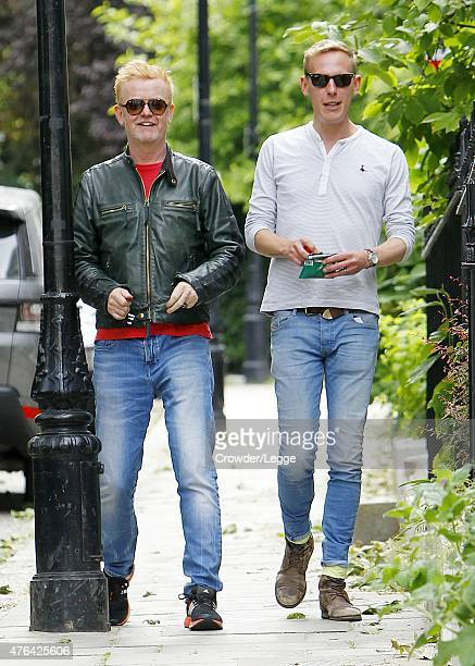 Chris Evans and Laurence Fox are seen out and about in North London on June 8 2015 in London England
