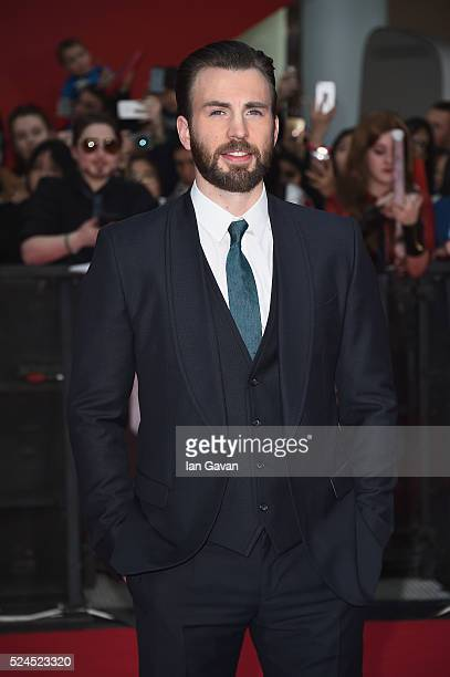 Chris Evans arrives for UK film premiere 'Captain America Civil War' at Vue Westfield on April 26 2016 in London England