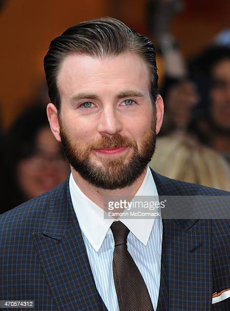 Chris Evans attends the European premiere of 'The Avengers Age Of Ultron' at Westfield London on April 21 2015 in London England