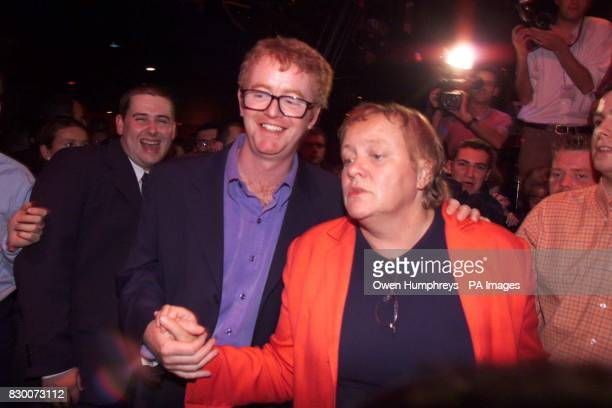 DJ Chris Evans dances with the Northern Ireland Secretary Mo Mowlam at the Palace Night Club In Blackpool tonight on the eve of the Labour party...