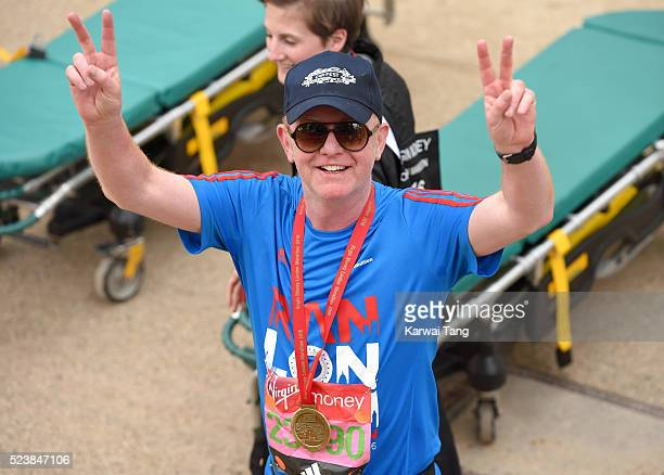 Chris Evans finishes the Virgin London Marathon 2016 on April 24 2016 in London England