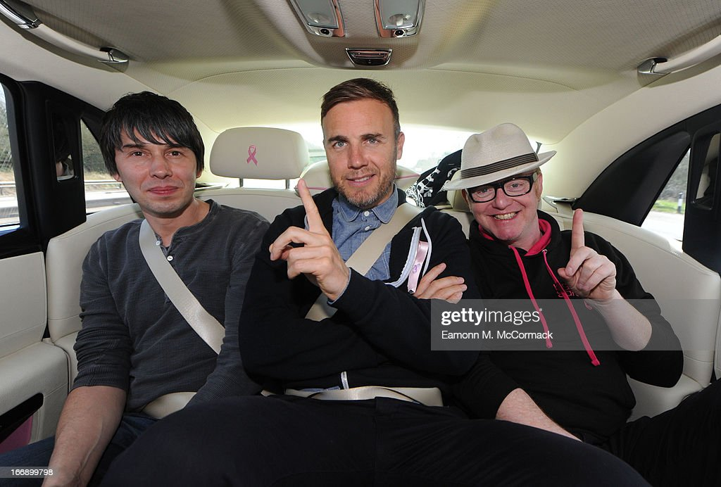 Chris Evans, <a gi-track='captionPersonalityLinkClicked' href=/galleries/search?phrase=Gary+Barlow&family=editorial&specificpeople=616384 ng-click='$event.stopPropagation()'>Gary Barlow</a>, James May and Professor Brian Cox launch FAB1 Million by driving from Land's End to John O'Groats on April 18, 2013 in Bristol, United Kingdom. FAB1 Million aims to raise one million pounds for Breast Cancer Care using a bespoke pink Rolls Royce Ghost with the original FAB1 Thunderbirds number plate, which is available for hire.