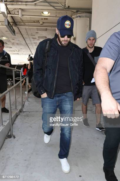 Chris Evans is seen at LAX on April 21 2017 in Los Angeles California