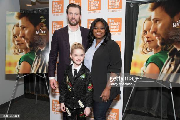 Chris Evans McKenna Grace and Octavia Spencer attend New York Institute of Technology on April 6 2017 in New York City