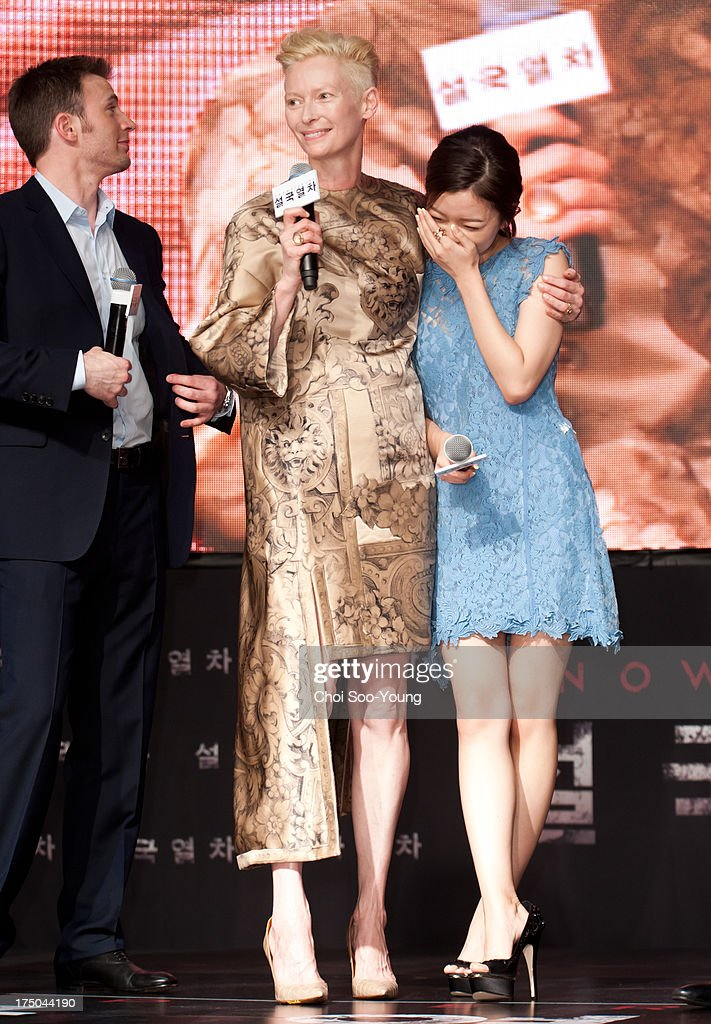 Chris Evans Tilda Swinton and Go AhSung attend the 'Snowpiercer' premiere red carpet at Time Square on July 29 2013 in Seoul South Korea