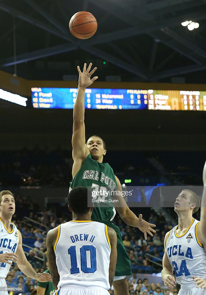 Chris Eversley #33 of the Cal Poly Mustangs shoots over Larry Drew II #10 of the UCLA Bruins at Pauley Pavilion on November 25, 2012 in Los Angeles, California.
