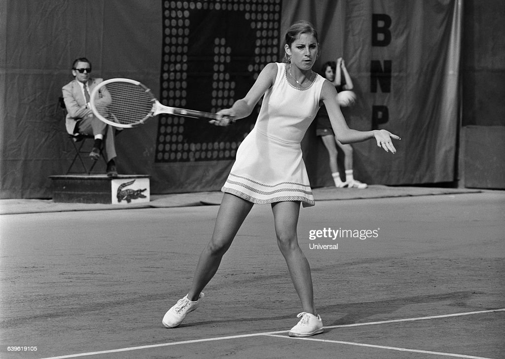 Chris Evert from USA during 1974 Roland Garros French Open.