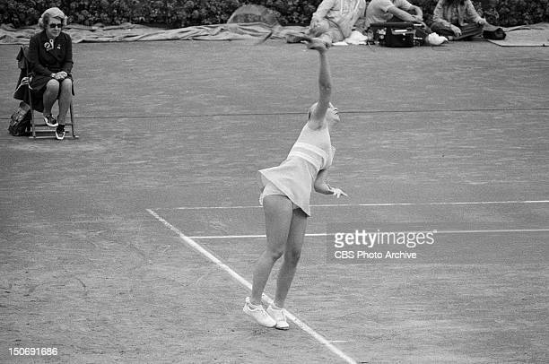 Chris Evert in the 1975 US Open tennis tournament that took place on the outdoor clay courts at the Forest Hills Queens in New York Image dated...