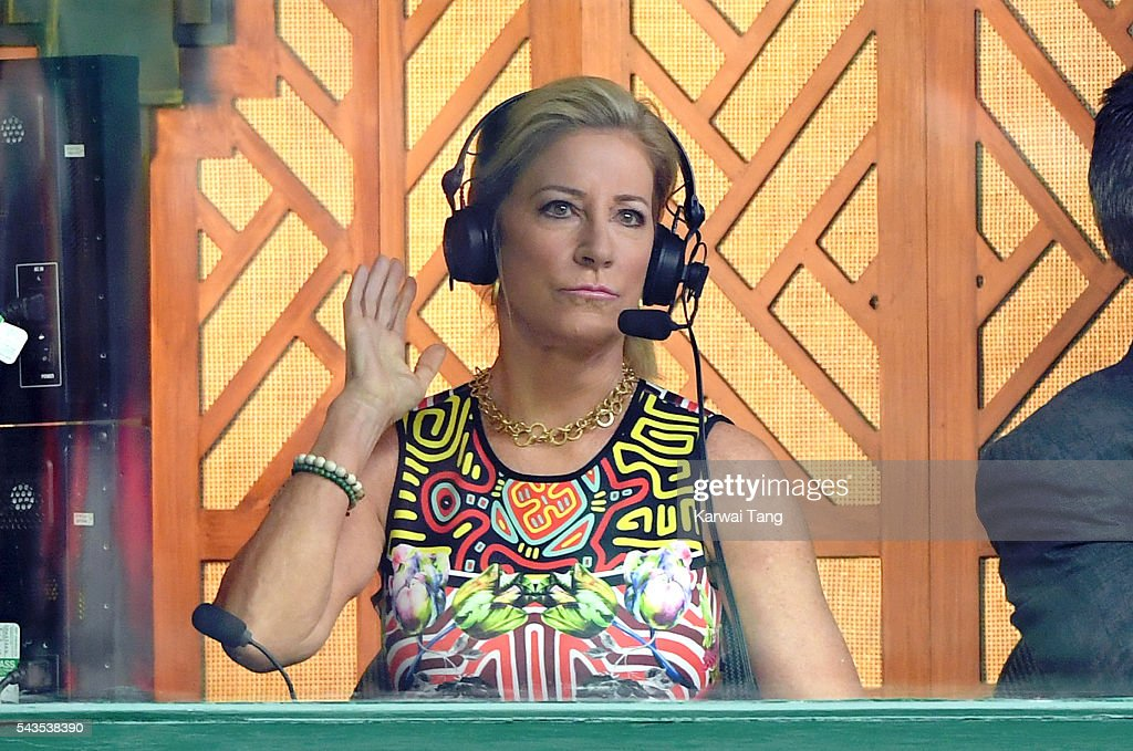 <a gi-track='captionPersonalityLinkClicked' href=/galleries/search?phrase=Chris+Evert+-+Tennis+Player&family=editorial&specificpeople=206410 ng-click='$event.stopPropagation()'>Chris Evert</a> in the commentary box on day three of the Wimbledon Tennis Championships at Wimbledon on June 29, 2016 in London, England.