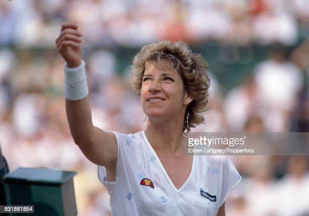 Chris Evert Lloyd during a women's singles match at the Wimbledon Lawn Tennis Championships in London circa July 1985 Evert Lloyd was defeated in the...