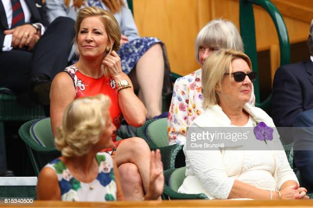Chris Evert looks on from the centre court royal box prior to the Gentlemen's Singles final between Roger Federer of Switzerland and Marin Cilic of...
