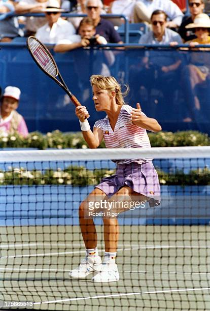 Chris Evert of the United States hits the forehand during her match at the 1988 US Open in Flushing Meadows New York