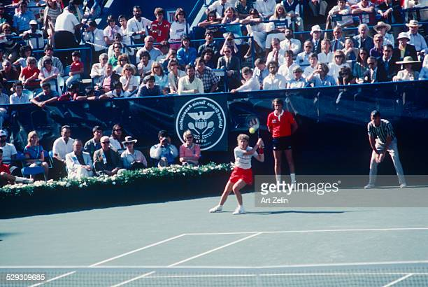Chris Evert wearing red playing in the 8th Annual RFK ProCelebrity Tennis Tournament 8251979 Flushing Meadows Park circa 1970 New York