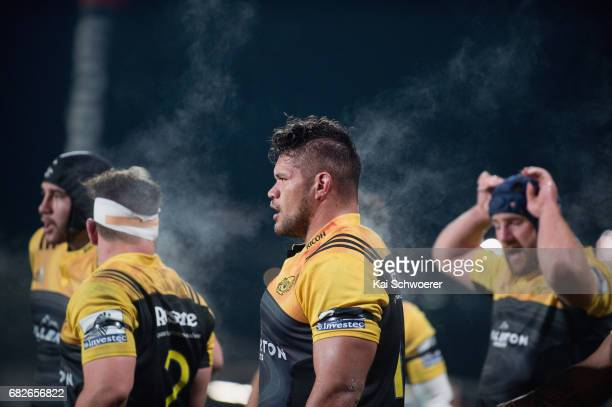 Chris Eves of the Hurricanes and his team mates look on during the round 12 Super Rugby match between the Crusaders and the Hurricanes at AMI Stadium...