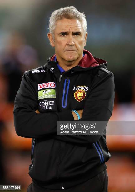 Chris Fagan Senior Coach of the Lions looks on during the 2017 AFL round 03 match between the St Kilda Saints and the Brisbane Lions at Etihad...