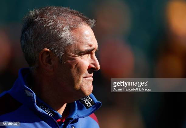 Chris Fagan Senior Coach of the Lions looks on during the 2017 AFL round 08 match between the Hawthorn Hawks and the Brisbane Lions at the University...
