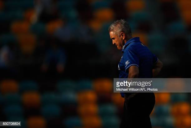 Chris Fagan Senior Coach of the Lions looks on during the 2017 AFL round 21 match between the Brisbane Lions and the Gold Coast Suns at the Gabba on...