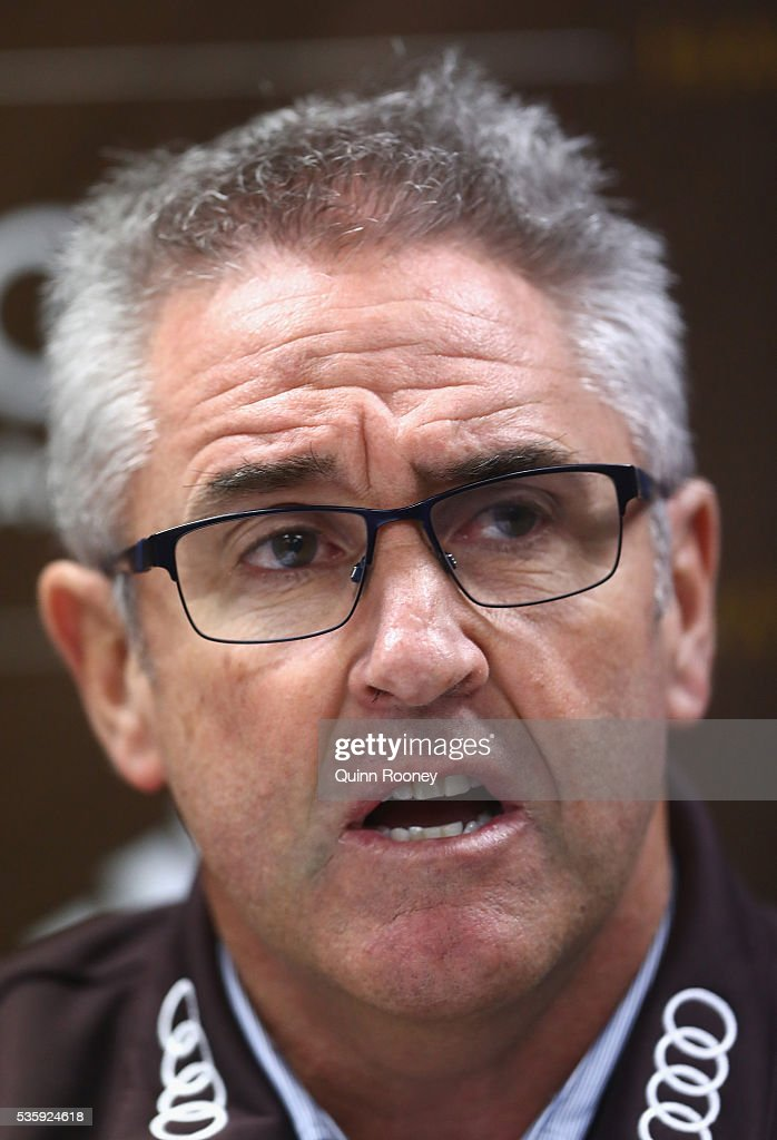 Chris Fagan the GM Football Operations at the Hawks speaks to the media during a Hawthorn Hawks AFL media opportunity at Waverley Park on May 31, 2016 in Melbourne, Australia.