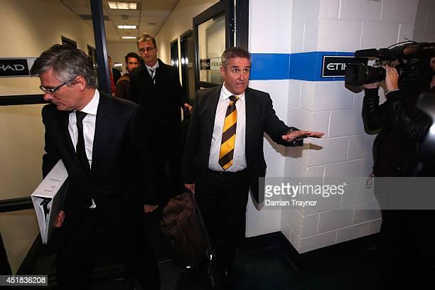 Chris Fagan the Hawthorn General Manager Football Operations addresses the media during the AFL tribunal hearing at AFL House on July 8 2014 in...