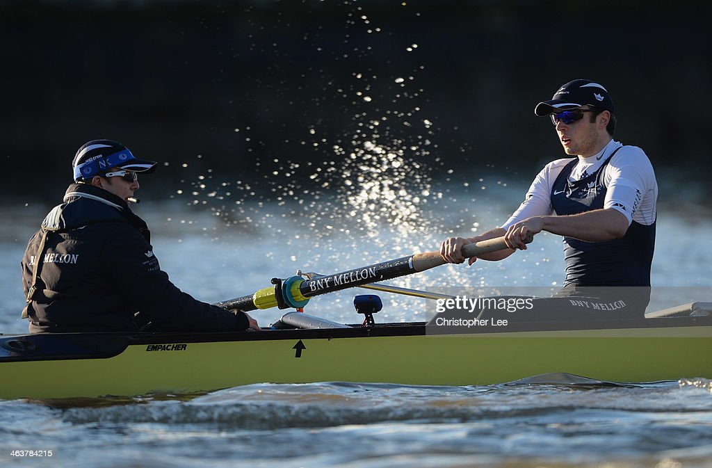Chris Fairweather and cox Laurence Harvey of the Persistent Crew of Oxford University in action during the Oxford University Boat Club Trial Eights...