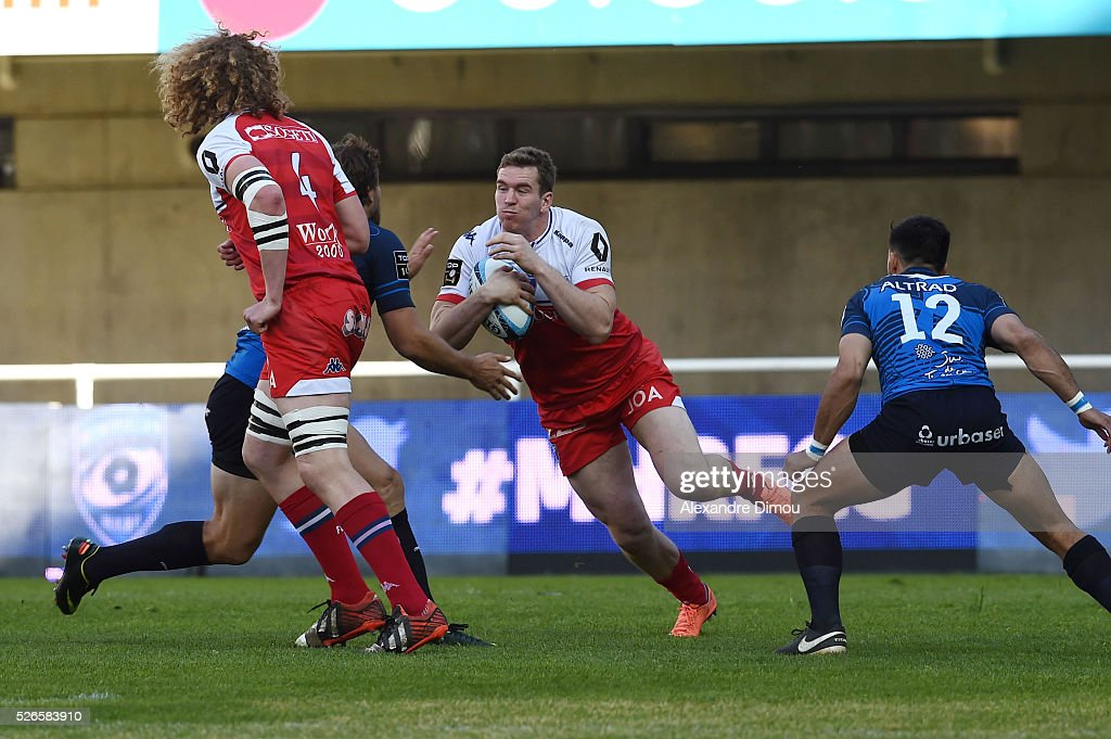 Chris Farrel of Grenoble during the French Top 14 rugby union match between Montpellier v Grenoble on April 30, 2016 in Montpellier, France.