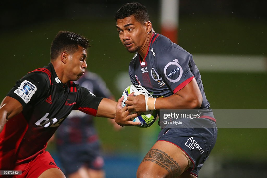 Chris Feauai-Sautia of the Reds runs the ball during the Super Rugby pre-season match between the Reds and the Crusaders at Ballymore Stadium on February 6, 2016 in Brisbane, Australia.