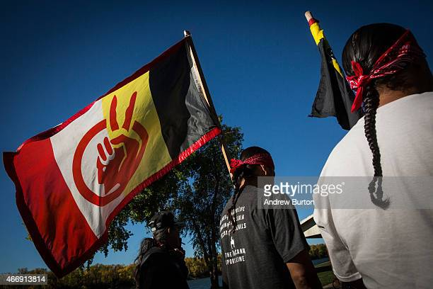 Chris Firethunder a member of the Oglala Lakota Native American tribe participates in a protest against the proposed Keystone XL pipeline on October...