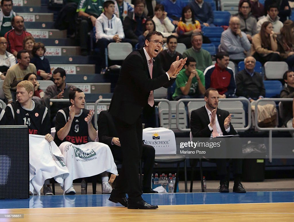 Chris Fleming, Head Coach of Brose Baskets Bamberg in action during the 2012-2013 Turkish Airlines Euroleague Top 16 Date 1 between Unicaja Malaga v Brose Baskets Bamberg at Palacio Deportes Martin Carpena on December 27, 2012 in Malaga, Spain.