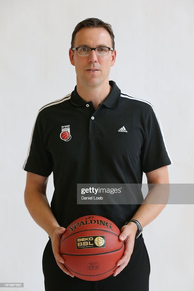 <a gi-track='captionPersonalityLinkClicked' href=/galleries/search?phrase=Chris+Fleming&family=editorial&specificpeople=730495 ng-click='$event.stopPropagation()'>Chris Fleming</a>, Head Coach of Brose Baskets Bamberg poses during the Brose Baskets Bamberg 2013/14 Turkish Airlines Euroleague Basketball Media Day Session at Stechert Arena on September 26, 2013 in Bamberg, Germany.