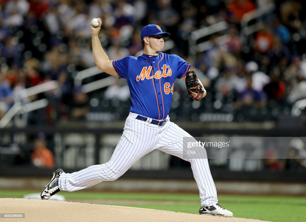 Chris Flexen #64 of the New York Mets delivers a pitch in the first inning against the Miami Marlins on August 18, 2017 at Citi Field in the Flushing neighborhood of the Queens borough of New York City.