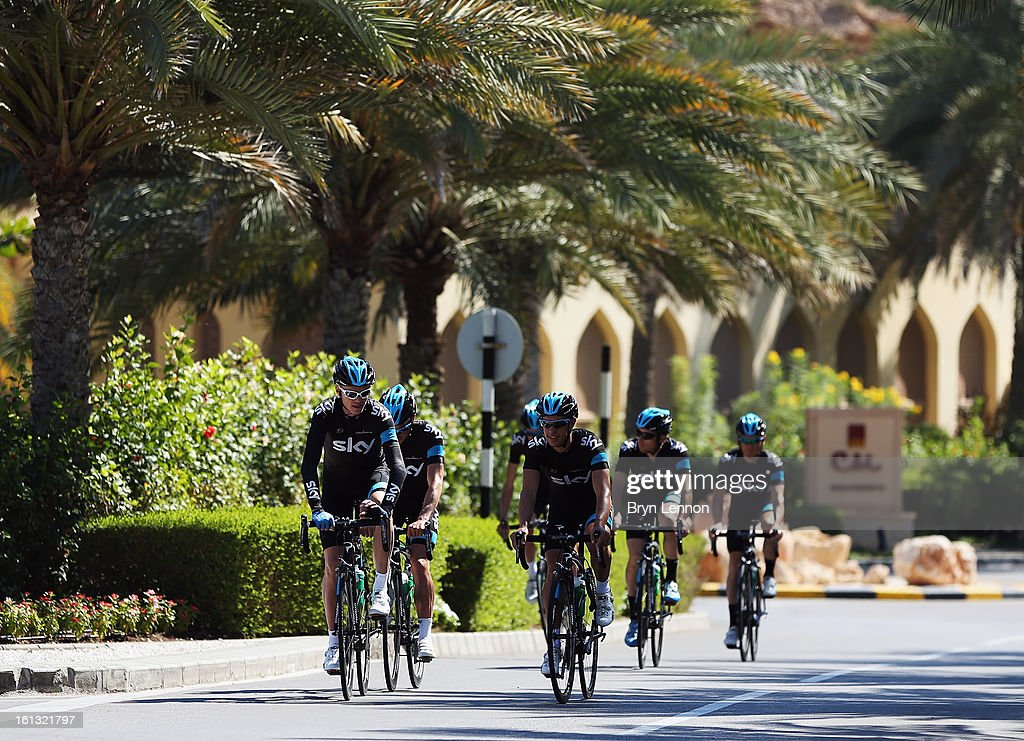 Chris Frome of Great Britain leads the SKY Procycling team on a training ride for the 2013 Tour of Oman on February 10, 2013 in Muscat, Oman. The Tour of Oman starts tomorrow with a 162km stage from Al Musannah to Sultan Qaboos University.