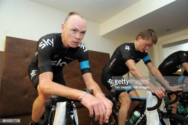 Chris Froome and Vasil Kirylenka training on rollers at the team hotel during the Team Sky Media Day in Alcudia Majorca