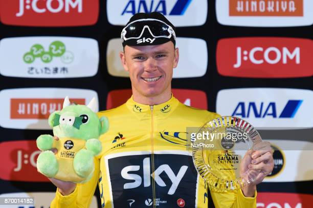 Chris Froome celebrates his win in the Best Mountain rider classification during the 589km Main Race at the 5th edition of TDF Saitama Criterium 2017...