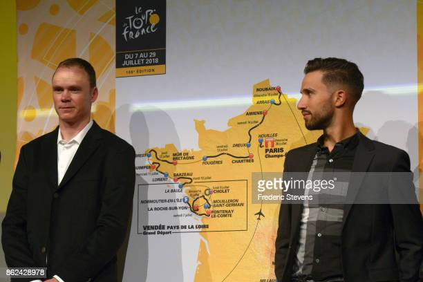 Chris Froome line up in front of the 2018 race route map during Le Tour de France 2018 Route Announcement at the Palais des Congres on October 17...